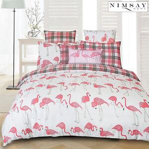 Flamingo-Tartan-100-algodon-para-edredon-Funda-De-Edredon-Juego-De-Cama-Individual-Doble-King