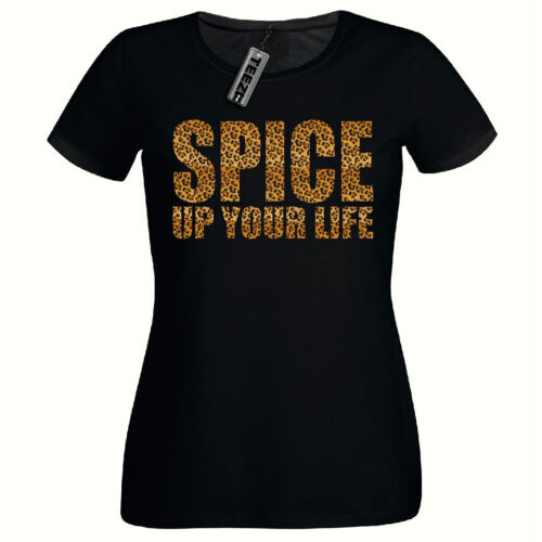 Ladies Fitted Tshirt,Spice Girls Tee Leopard Print Spice Up Your Life Tshirt