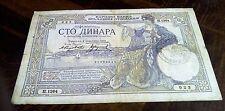 100 dinar 1929 Italian ocupation stamp verificato banknote Yugoslavia