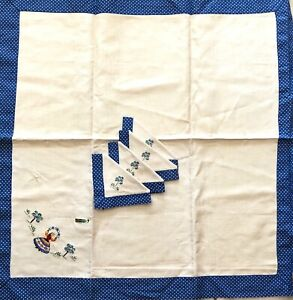 Vtg-Embroidered-Pure-Linen-Small-Tablecloth-w-4-Matching-Napkins-Polka-Dot-Edge