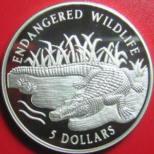 1996-COOK-ISLANDS-5-SILVER-PROOF-CROCODILE-CROC-RIVER-BANK-ENDANGERED-WILDLIFE