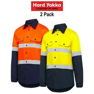 Mens-Hard-Yakka-Safety-Hi-Vis-Summer-2-Pack-Taped-Work-Long-Sleeve-Shirt-Y07940