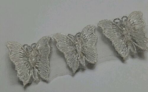 Ivory embroidered Venise lace butterflies w//silver metallic thread set of 24