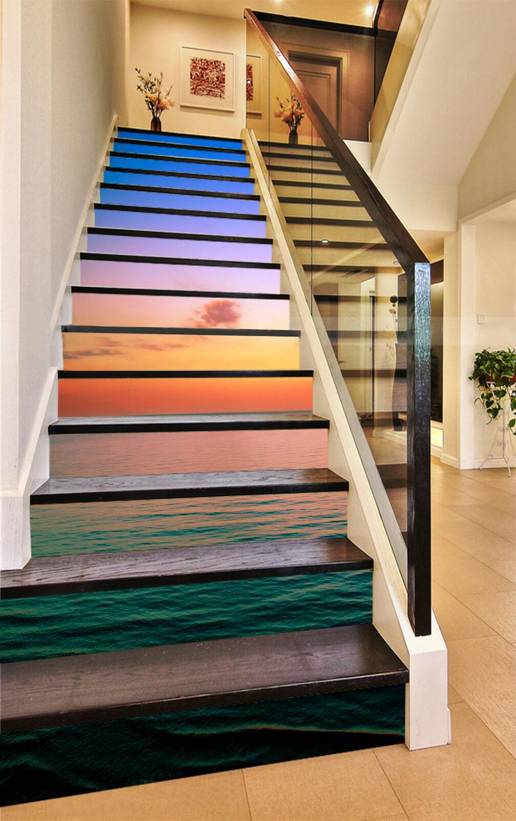3D Meer Abend 598 Stair Risers Dekoration Fototapete Vinyl Aufkleber Tapete DE