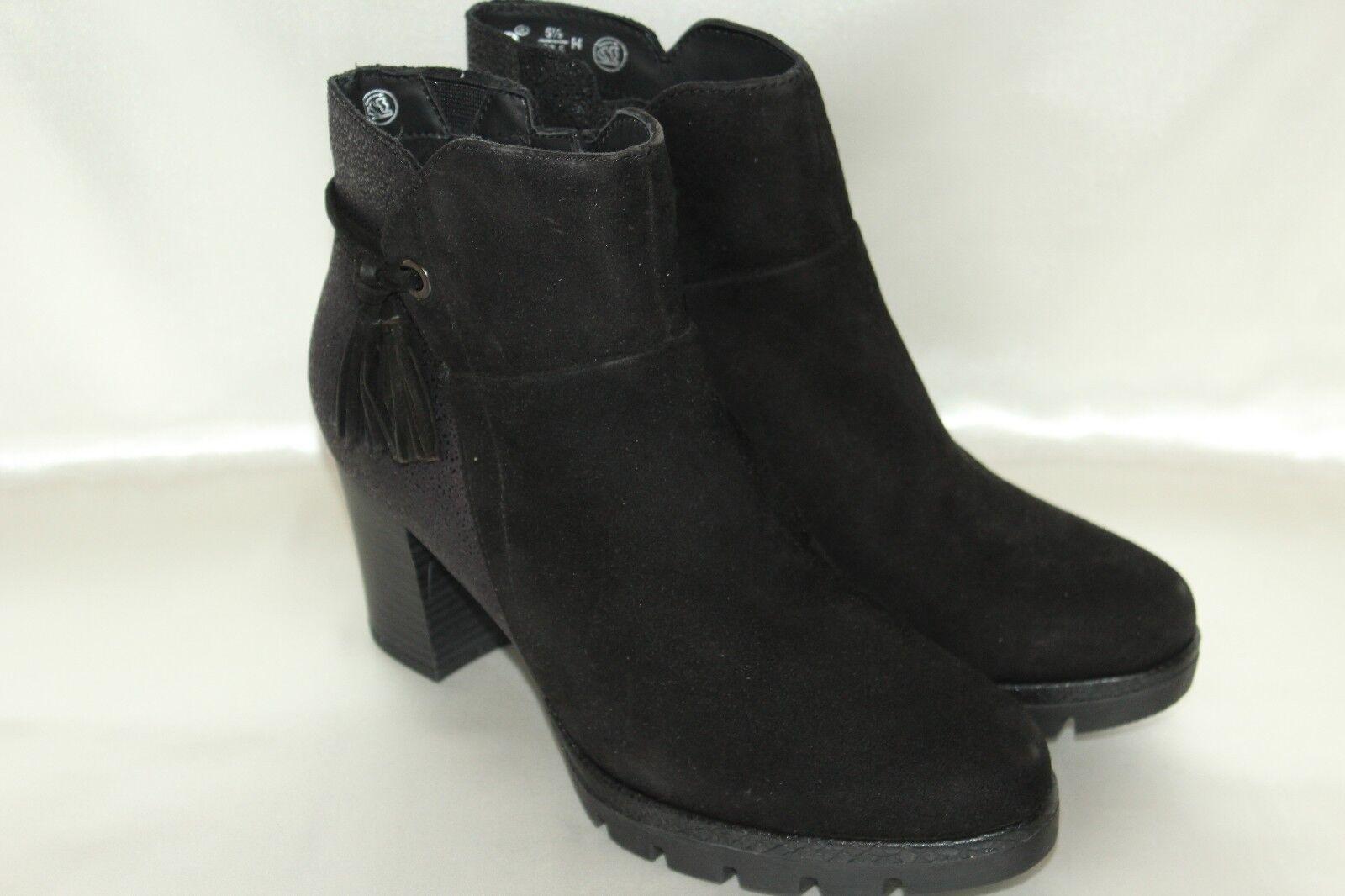 NEW  NIB  JANA Black Suede Leather Comfort Zip Ankle Boots Sz EU38.5 Wide  170