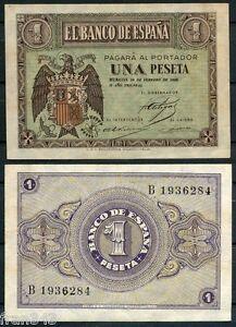 1 Peseta Février Année 1938 Emissions Burgos Sc Espagne Série 107 A/unc Nous Prenons Les Clients Comme Nos Dieux