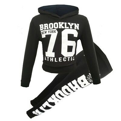 New Girls Brooklyn New York Grey Gold Hooded Tracksuit Set Age 7 8 9 10 11 12 13