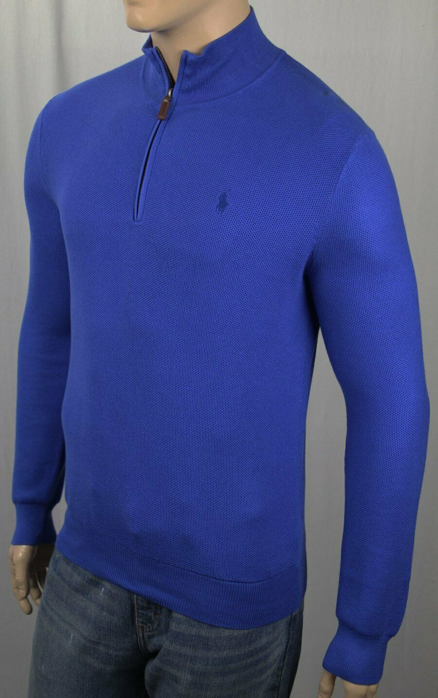 Polo Ralph Lauren bluee 1 2 Half Zip Pima Mesh Sweater bluee Pony Defective NWT