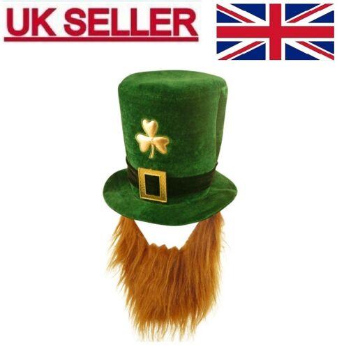 FANCY DRESS IRISH LEPRECHAUN ST PATRICK/'S EIRE GREEN VELVET HAT WITH BEARD