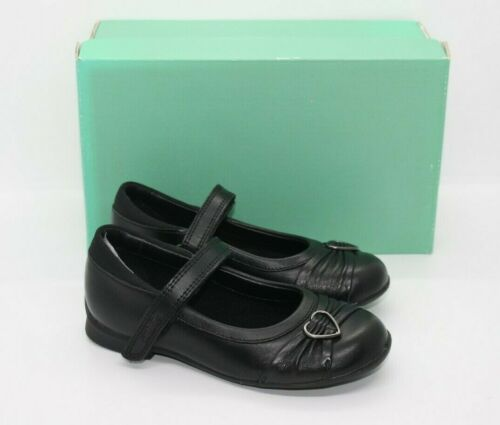 Clarks Infant Girls Dolly Heart Black Leather School Shoes Various Sizes BNIB