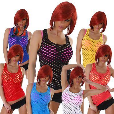 Netztop Netz Top einfarbig ärmellos Löcher T-Shirt Gogo Sommer Oberteil Größe