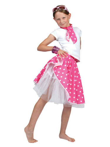 Kids PINK ROCK N ROLL jupe /& foulard FANCY DRESS COSTUME DANSE pois années 50