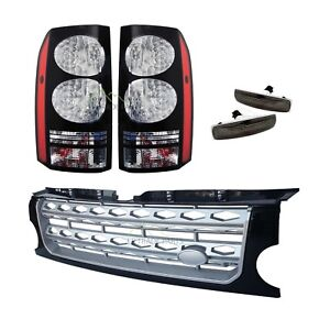 LAND-ROVER-DISCOVERY-3-BLACK-LED-TAIL-LIGHTS-amp-DISCO-4-FRONT-GRILLE-UPGRADE-KIT