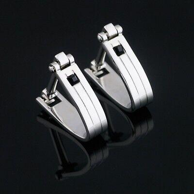 X-523 Stainless Steel Black Zircon Wedding Cufflinks Gift Box FREE SHIPPING