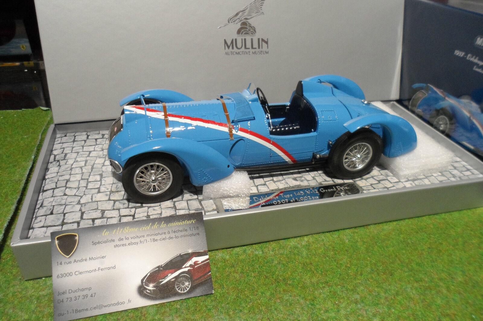 DELAHAYE TYPE 145 V12 GRAND PRIX 1937 cabriolet bleu 1 18 d Minichamps 107116100