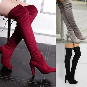 Womens-Shoes-Lace-Up-High-Heels-Block-Heel-Overknee-Boots-Leisure-Boots-Slim