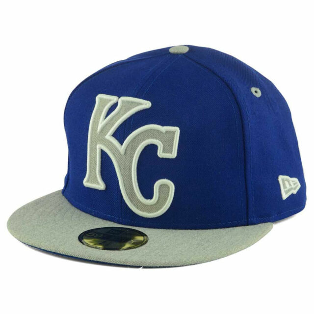 the latest 080ec 03afa Kansas City Royals MLB Full Heather XL Logo 5950 Fitted FlatBill Brim Hat  Cap KC