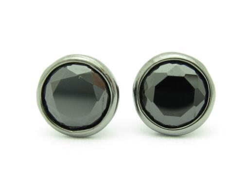 Or Noir Argent Sterling diamod Set Noir Saphir unique Martini Stud Earring