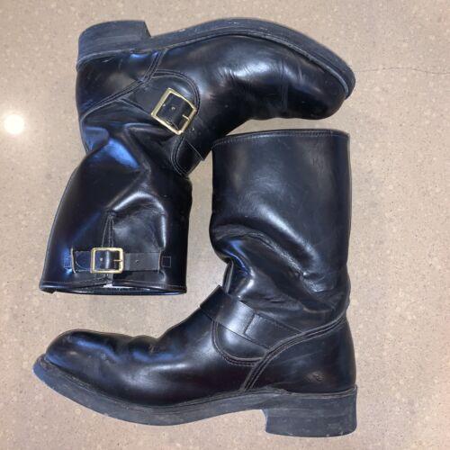 Work N Sport Mens 7.5 EE Wide Black Leather Motorc