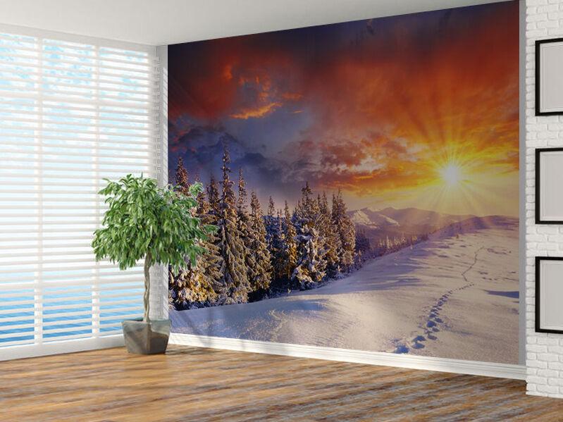 Sonnenuntergang in Snowy Mountain Landschaft Foto Wandtapete Wandgemälde
