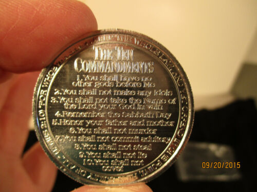 UNC US Silver Dollar Size Coins with The Ten Commandments Minted on Them 10