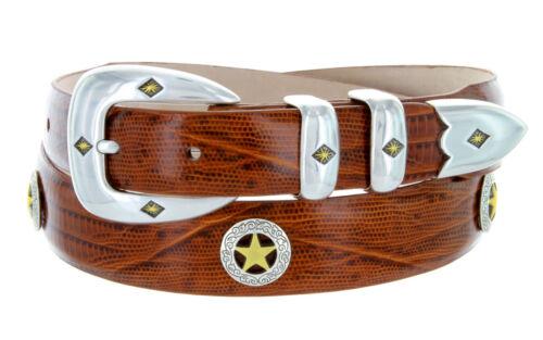 """1-1//8/"""" Wide Presidential Gold Star Mens Italian Calfskin Designer Dress Belt"""