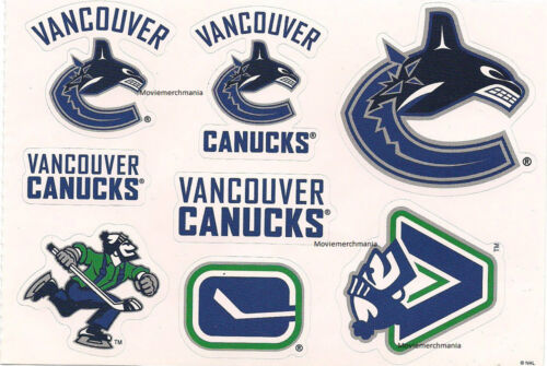 """Vancouver Canucks Sticker Decal Lot Sheet 5.75/"""" x 5.5/"""" Licensed Stickers NEW"""