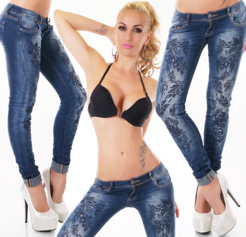 Women Jeans Clubbing Ladies Party Embroidery Skinny Trouser Pant Size 8 10 12 14