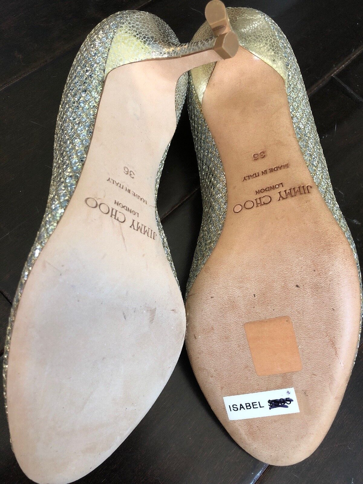 JIMMY CHOO ISABEL ISABEL ISABEL Champagne Glitter Fabric Peep Toe Pumps Taille 36 6d7be4