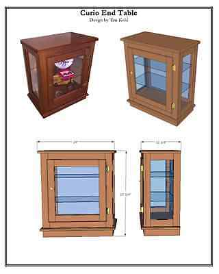 WOODWORKING PLANS - End Table/Curio Cabinet - WOODWORKING PLANS
