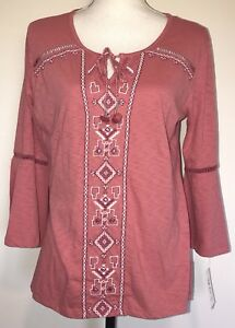 1dd8a5ef598de Style   Co. Womens Small Embroidered Peasant Top Pink Shirt Tribal ...