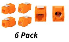 6x Keystone Jack Cat6A RJ45 Ethernet Network Module Toolfree 180 Degree Orange