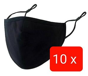 10 STÜCK Maske Mundschutz 100%Baumwolle Stoff waschbar Nasenbügel Brillenträger