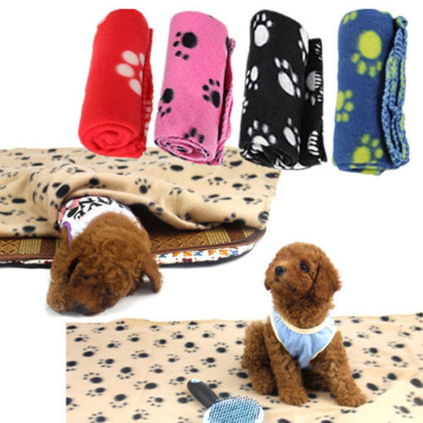 Soft Warm Paw Print  Fleece Pet Blanket Dog Cat Puppy Bed Mat Cover