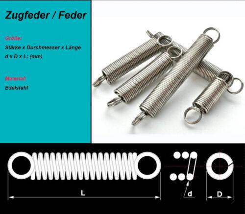 5x Zugfeder Feder Edelstahl Drahtstärke=1,0mm Außendurchmesser=6mm Länge=20-60mm