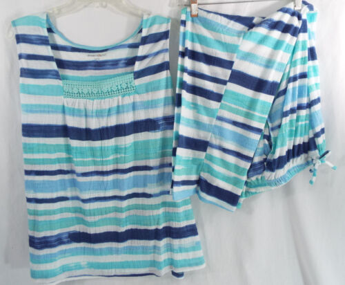 Whisperweight Gauze PJ Set Sleeveless Shirt With Pants Blue Stripe Co Dreams