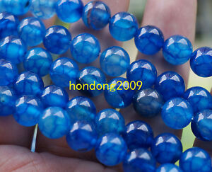 Natural-8mm-Blue-Dragon-Veins-Agate-Round-Gemstone-Loose-Beads-15-039-039-AAA