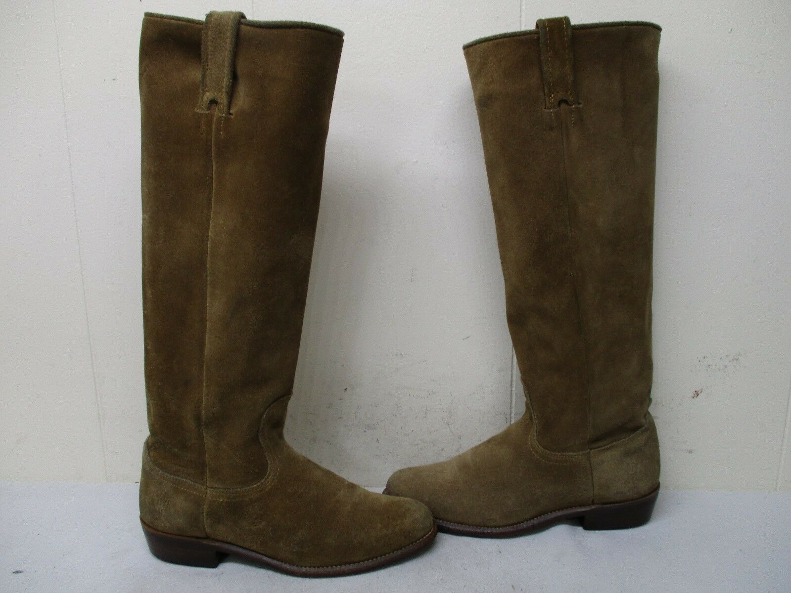 Frye Brown Suede Leather Knee High Cowboy Boots Womens Size 5.5 B Style 77072