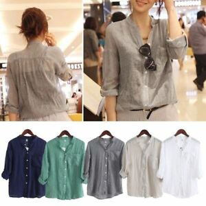 Summer-Women-039-s-Ladies-Loose-Long-Sleeve-Casual-Blouse-Shirt-Tops-Cotton-Linen