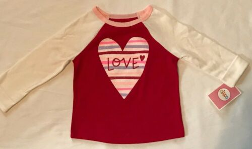 NEW Girls Valentine/'s Red Pink Purple Sparkly Baseball-Style Long Sleeve T-shirt