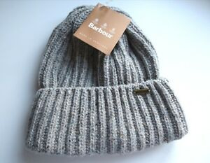 BARBOUR TYNEDALE CHUNKY WOOL GREY MIX BEANIE Hat UNISEX Made In ... 236f836d890