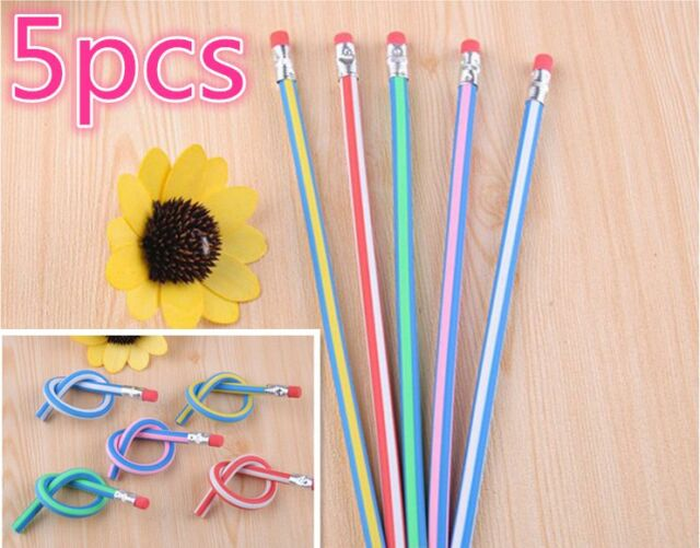 5PCS Colorful Magic Bendy Flexible Soft Pencil With Eraser For Kids Writing Hot