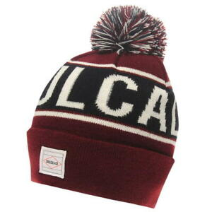 MENS SOULCAL RED BURGUNDY WOOLLY RIBBED CUFFED KNITTED SKIING BOBBLE ... ae6ffd7beec