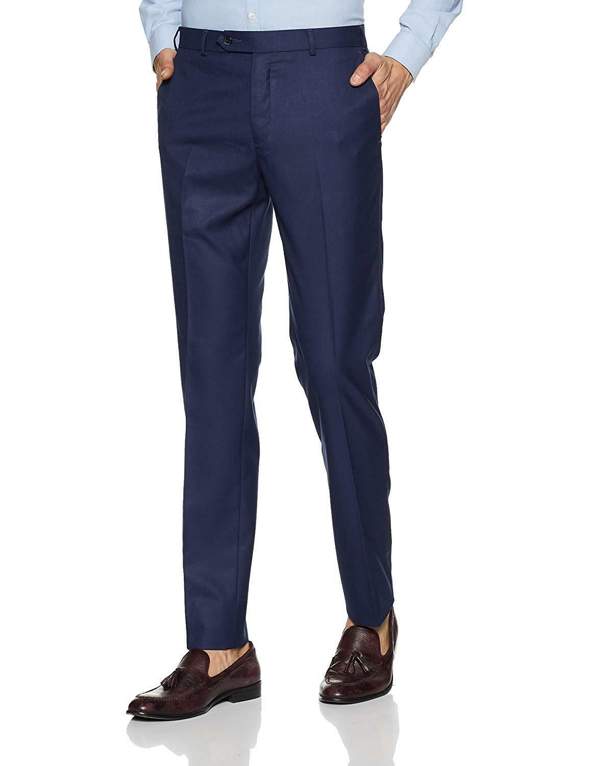 Men'S Pleat-Front Pants Suit Formal Trousers Work Mens Business Straight