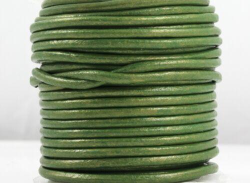 5 m Rundlederband grün metallic Ø 2 mm Schmuck herstellen Armband