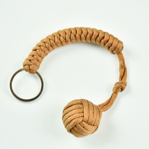 Outdoor Hiking Strength Paracord Monkey Fist Keychain With Steel Ball Khaki