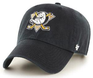 ANAHEIM-MIGHTY-DUCKS-NHL-BLACK-STRAPBACK-DAD-CAP-HAT-CLEAN-UP-NEW-039-47-BRAND