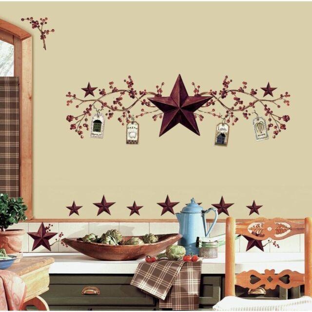 STARS U0026 BERRIES WALL DECALS Country Kitchen Stickers Rustic Folk Primitive  Decor