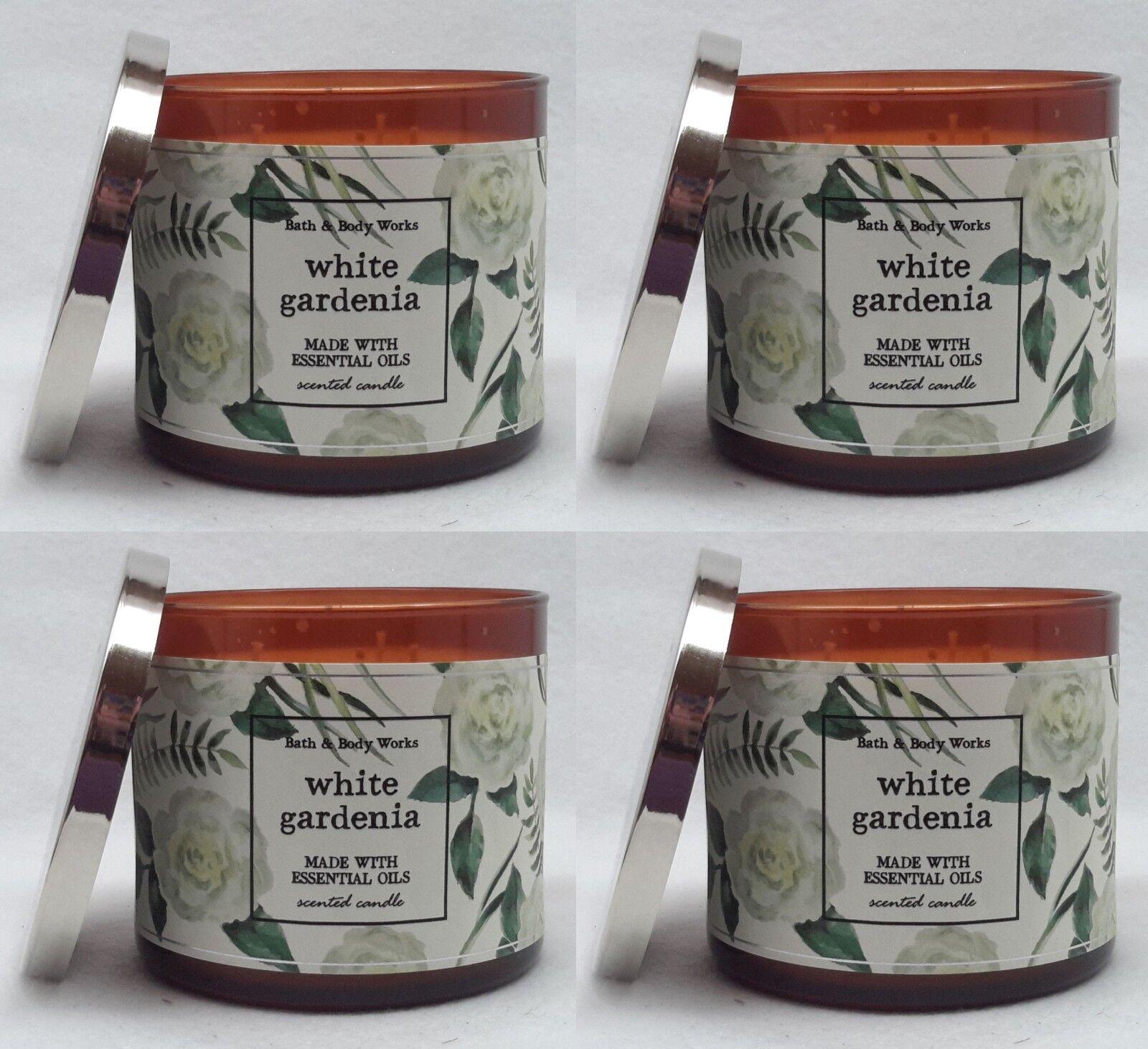 4 Bath & Body Works Weiß GARDENIA 3-Wick Scented Wax Candle 14.5 oz