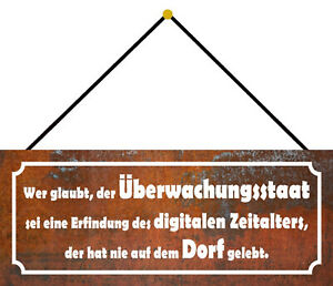 Überwachungsstaat Village Tin Sign Shield with Cord 10 X 27 CM K0057-K
